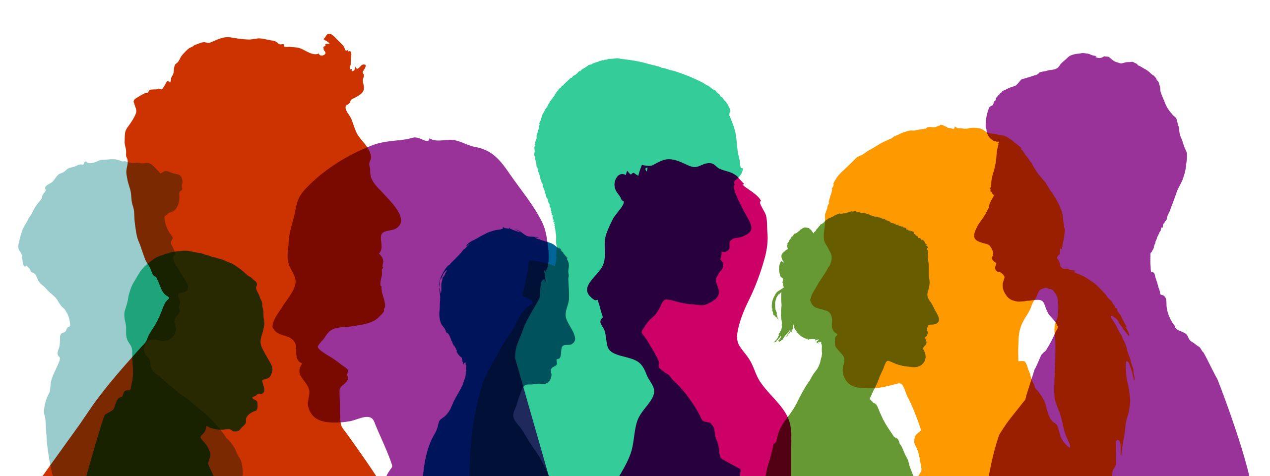 Gruppe von Köpfen in verschiedenen bunten Farben als Team