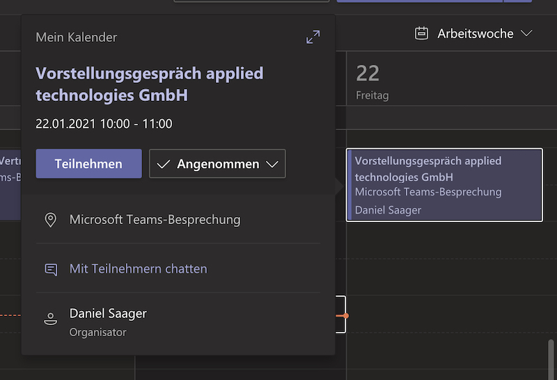 Teilnehmen an einer Teams Besprechung - App Kalendar